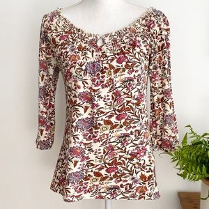 Lucky Brand Floral 3/4 Sleeve Knit Jersey Top XS
